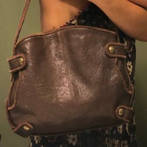 BCBGirls Brown Leather with corduroy trims purse